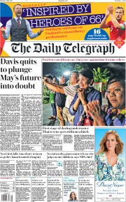 The Daily Telegraph (UK) Newspaper Front Page for 9 July 2018
