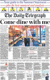 The Daily Telegraph front page for 9 July 2020