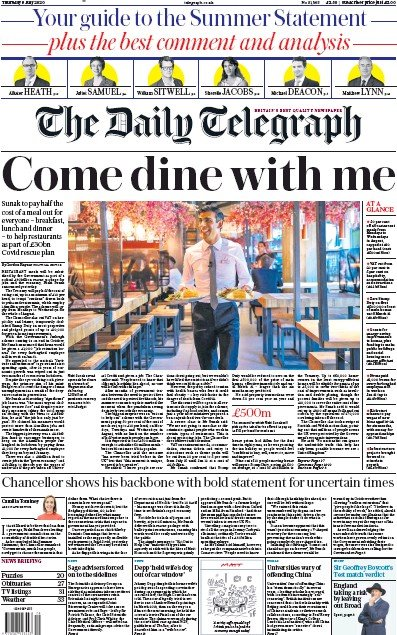 The Daily Telegraph Newspaper Front Page (UK) for 9 July 2020