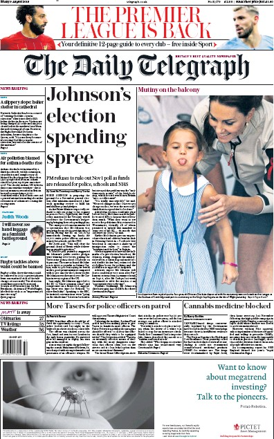The Daily Telegraph Newspaper Front Page (UK) for 9 August 2019