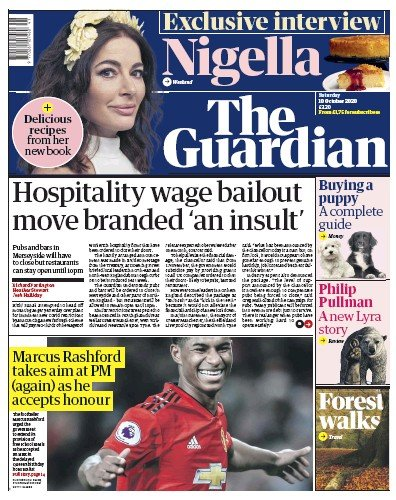 The Guardian Newspaper Front Page (UK) for 10 October 2020