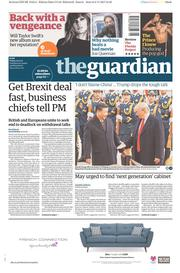 The Guardian (UK) Newspaper Front Page for 10 November 2017