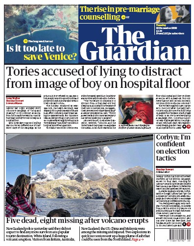 The Guardian Newspaper Front Page (UK) for 10 December 2019