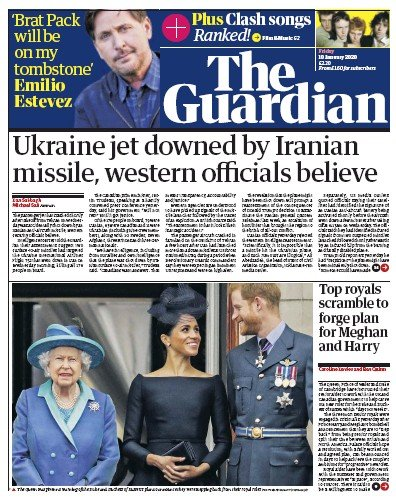 The Guardian Newspaper Front Page (UK) for 10 January 2020