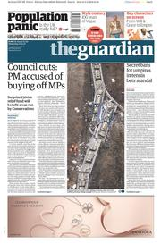 The Guardian (UK) Newspaper Front Page for 10 February 2016