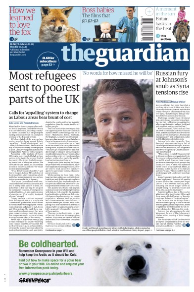 The Guardian Newspaper Front Page (UK) for 10 April 2017