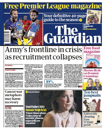 The Guardian Newspaper Front Page (UK) for 10 August 2019
