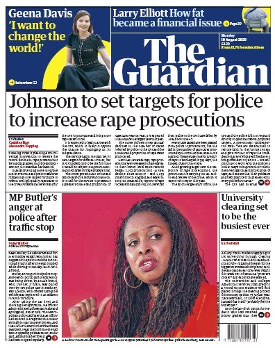 The Guardian Newspaper Front Page (UK) for 10 August 2020