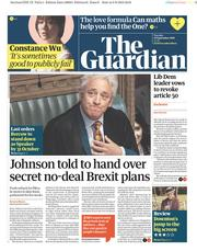 The Guardian (UK) Newspaper Front Page for 10 September 2019