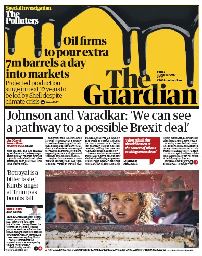 The Guardian Newspaper Front Page (UK) for 11 October 2019