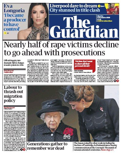 The Guardian Newspaper Front Page (UK) for 11 November 2019
