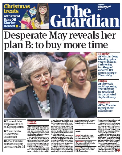 The Guardian Newspaper Front Page (UK) for 11 December 2018