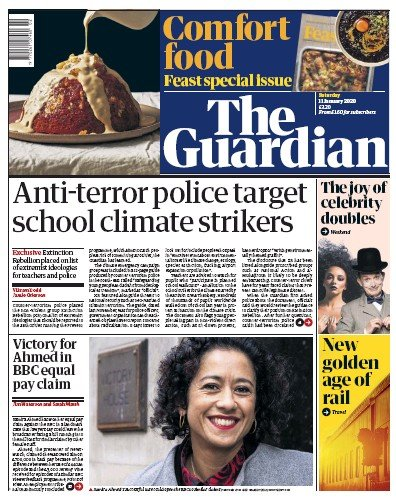 The Guardian Newspaper Front Page (UK) for 11 January 2020