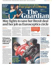 The Guardian (UK) Newspaper Front Page for 11 March 2019