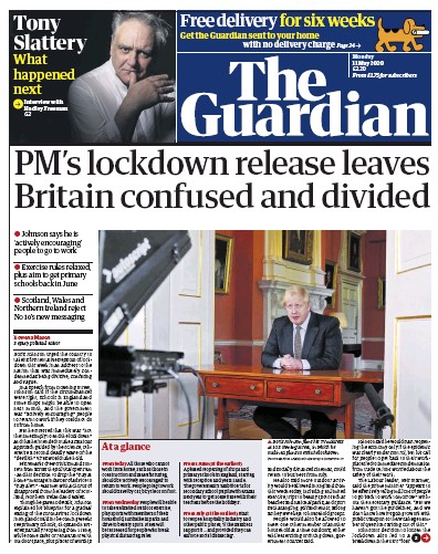The Guardian Newspaper Front Page (UK) for 11 May 2020