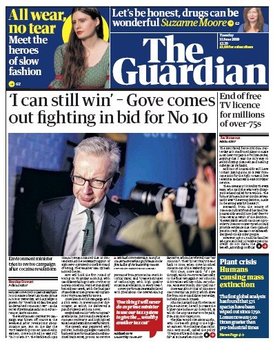 The Guardian Newspaper Front Page (UK) for 11 June 2019