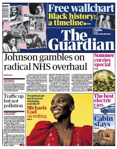 The Guardian Newspaper Front Page (UK) for 11 July 2020