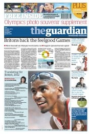 The Guardian Newspaper Front Page (UK) for 11 August 2012