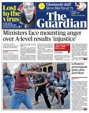 The Guardian front page for 11 August 2020