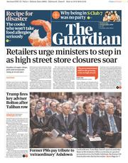 The Guardian (UK) Newspaper Front Page for 11 September 2019