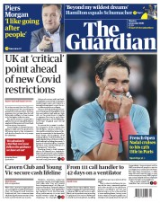 The Guardian front page for 12 October 2020