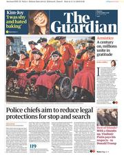 The Guardian (UK) Newspaper Front Page for 12 November 2018