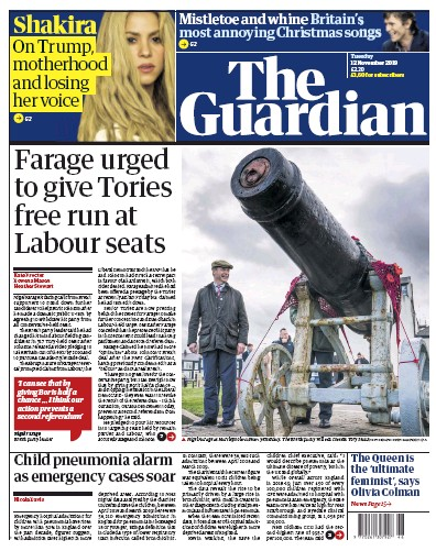 The Guardian Newspaper Front Page (UK) for 12 November 2019