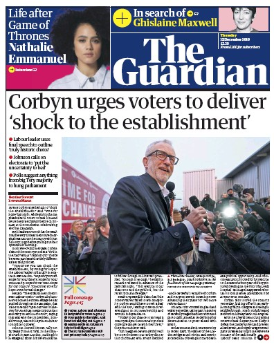 The Guardian Newspaper Front Page (UK) for 12 December 2019