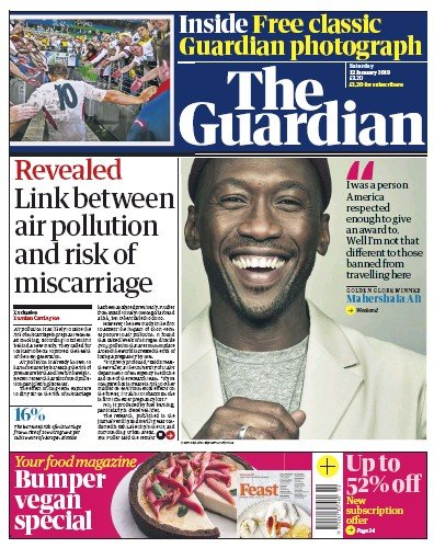 The Guardian Newspaper Front Page (UK) for 12 January 2019