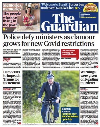 The Guardian Newspaper Front Page (UK) for 12 January 2021