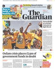 The Guardian (UK) Newspaper Front Page for 12 February 2018