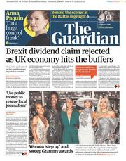 The Guardian (UK) Newspaper Front Page for 12 February 2019