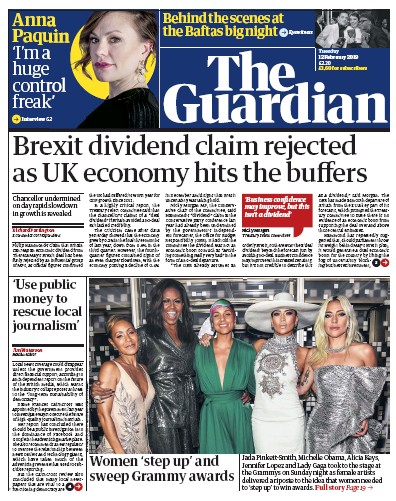 The Guardian Newspaper Front Page (UK) for 12 February 2019
