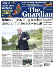 The Guardian front page for 12 May 2020