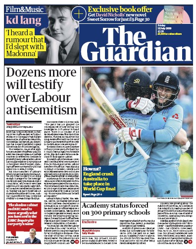 The Guardian Newspaper Front Page (UK) for 12 July 2019