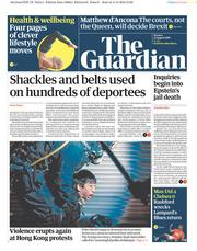 The Guardian (UK) Newspaper Front Page for 12 August 2019