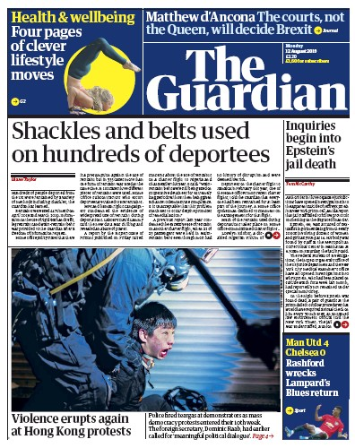 The Guardian Newspaper Front Page (UK) for 12 August 2019