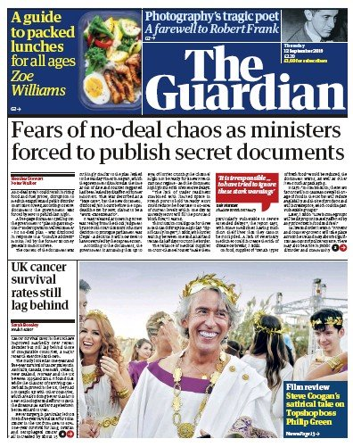 The Guardian Newspaper Front Page (UK) for 12 September 2019