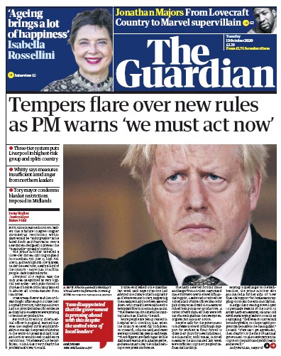 The Guardian Newspaper Front Page (UK) for 13 October 2020