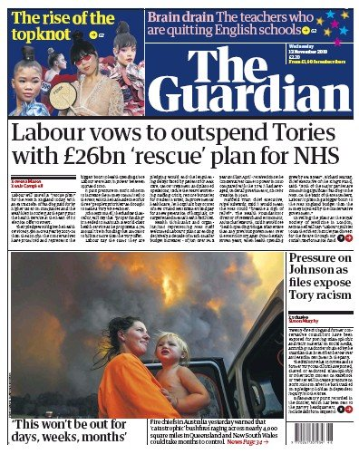 The Guardian Newspaper Front Page (UK) for 13 November 2019