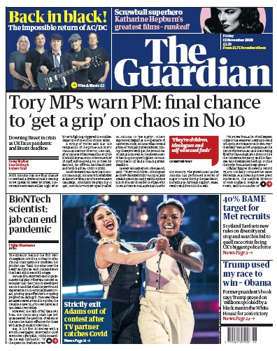 The Guardian Newspaper Front Page (UK) for 13 November 2020