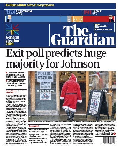 The Guardian Newspaper Front Page (UK) for 13 December 2019