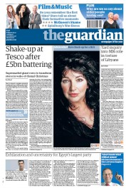The Guardian () Newspaper Front Page for 13 January 2012