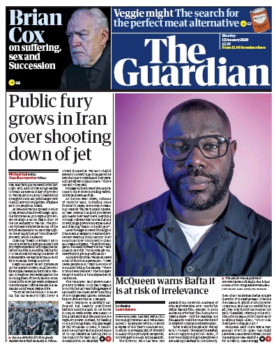 The Guardian Newspaper Front Page (UK) for 13 January 2020