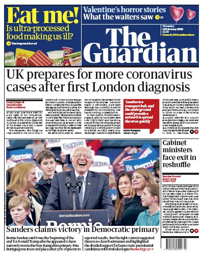 The Guardian Newspaper Front Page (UK) for 13 February 2020