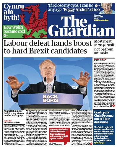 The Guardian Newspaper Front Page (UK) for 13 June 2019