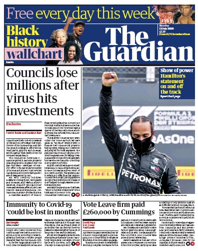 The Guardian Newspaper Front Page (UK) for 13 July 2020