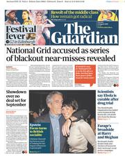 The Guardian (UK) Newspaper Front Page for 13 August 2019