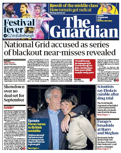 The Guardian Newspaper Front Page (UK) for 13 August 2019
