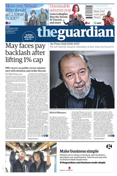 The Guardian Newspaper Front Page (UK) for 13 September 2017